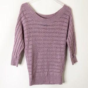 AE off shoulder lightweight cable knit sweater